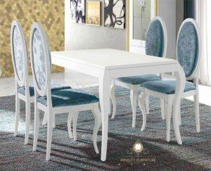 meja makan klasik duco putih modern