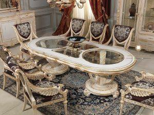 meja makan ukir mewah modern