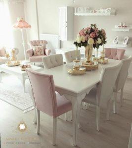 model meja makan modern duco putih