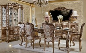 set meja makan klasik model italian style