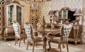 set meja makan ukir klasik modern