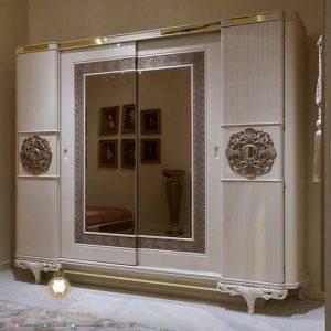 lemari pakaian duco putih mewah modern