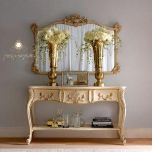 meja konsul ukir duco putih kayu jepara