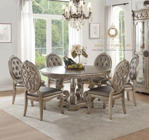 meja makan bundar klasik elegant kayu