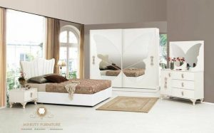 set kamar tidur duco putih motif kupu-kupu