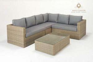 sofa tamu sudut rotan sintetis