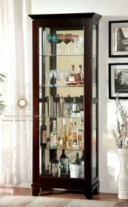 cabinet lemari kaca kayu jati minimalis modern