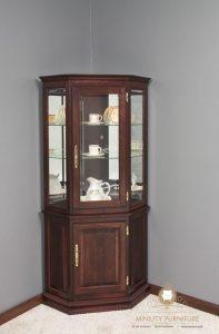 cabinet lemari kaca sudut kayu minimalis terbaru