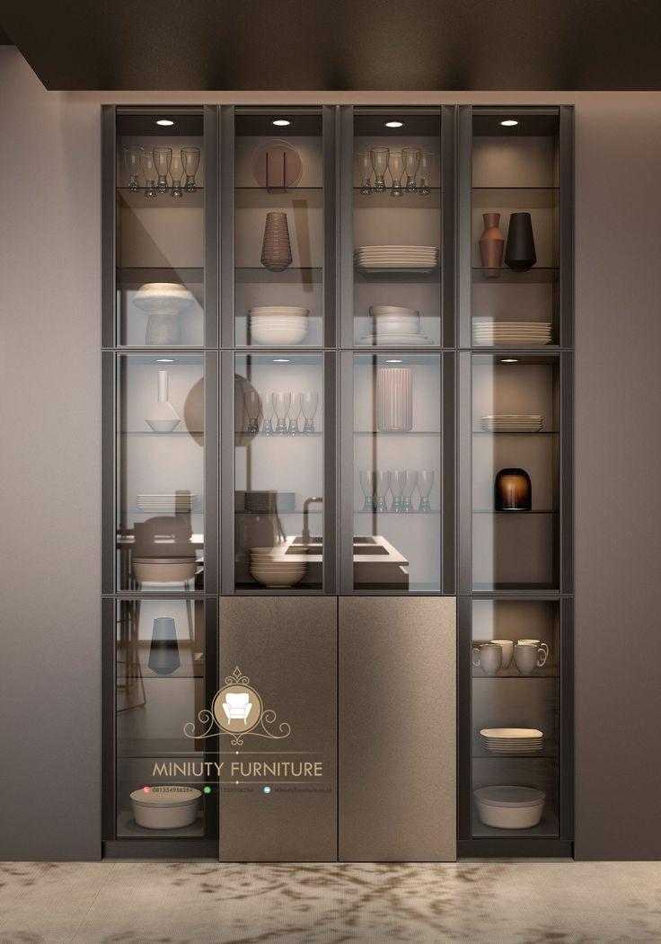 Cabinet Lemari Rak Kaca Minimalis Modern Model Terbaru Miniuty Furniture