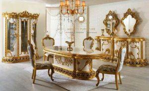dining room set ukir mewah duco putih