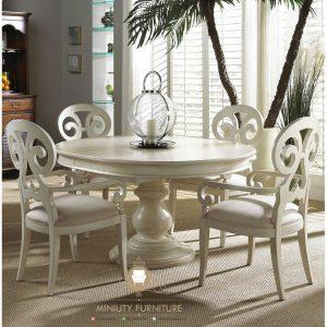dining table set classic modern duco putih terbaru