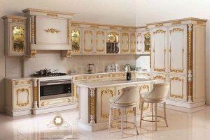 kitchen set dapur mewah motif ukiran model terbaru