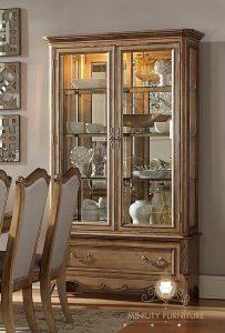 lemari pajangan hias rak kaca mewah classic modern kayu jepara