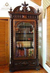 lemari pajangan rak buku kayu