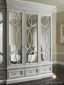 lemari pakaian pintu cermin duco putih classic