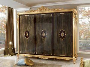 lemari pakaian ukir mewah modern kayu