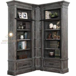 lemari rak buku sudut kayu classic antique terbaru