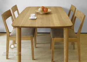 meja makan minimalis kayu model retro