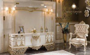 meja rias ukir mewah modern kayu warna putih