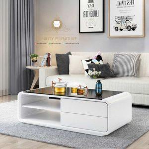 meja tamu keluarga warna putih kayu model lengkung terbaru