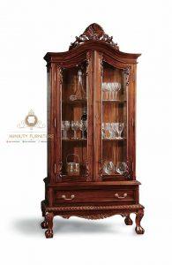 model lemari rak piring kaca kayu jati classic modern terbaru