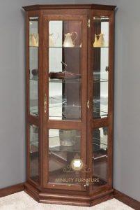 model lemari sudut kaca pajangan kayu jati model terbaru