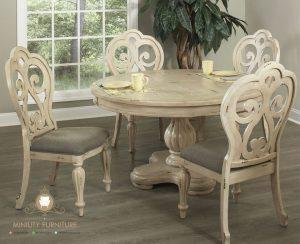 model meja makan bulat classic modern kayu jepara terbaru