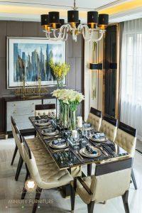 model meja makan super mewah elegant modern top table marmer