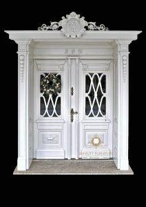 model pintu mewah klasik kayu jati duco putih terbaru