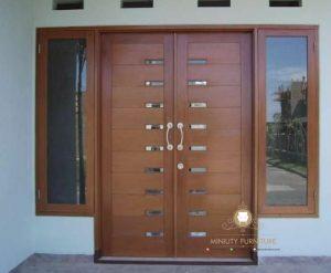 model pintu rumah minimalis modern kayu jati terbaru jepara