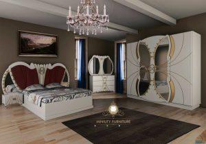 set kamar tidur mewah unik putih model terbaru