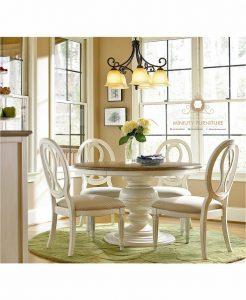 set kursi meja makan kayu warna putih classic modern model terbaru