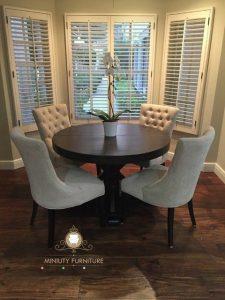 set meja makan bulat kursi 4 modern terbaru