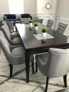 set meja makan panjang minimalis modern kayu jepara