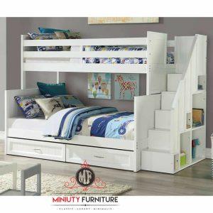 bunk bed children tempat tidur anak tingkat tangga laci putih