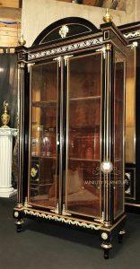 cabinet lemari kaca mewah modern model terbaru kayu
