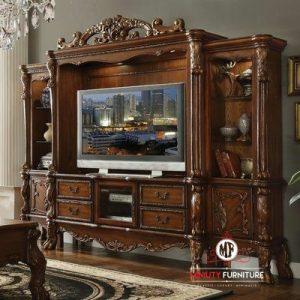 desain model lemari tv klasik modern kayu jati terbaru