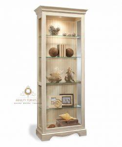 kabinet lemari kaca pajangan kayu modern