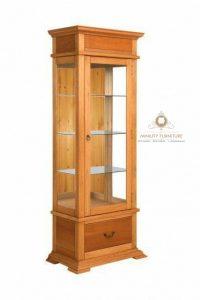 model kabinet lemari pajangan kaca minimalis kayu jati terbaru