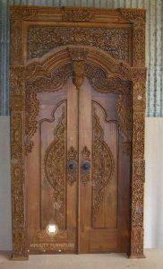 model pintu gebyok ukiran mewah kayu jati terbaru