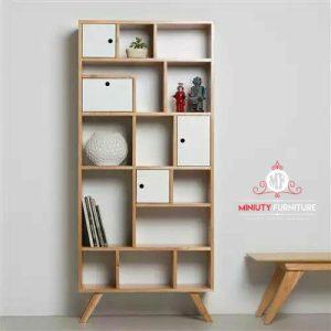 rak buku minimalis modern kayu jati terbaru