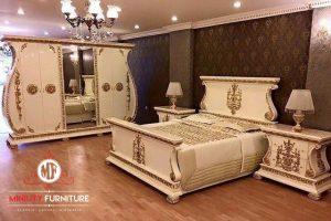 set kamar tidur mewah duco putih luxury italian style