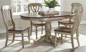 set meja makan kayu model klasik putih terbaru