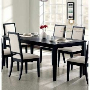set meja makan minimalis modern kayu jati