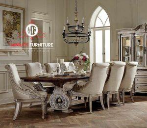 set meja makan ukir mewah klasik elegant putih terbaru