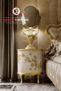 bedside table oval motif ukir putih klasik terbaru
