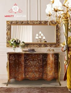 desain meja cermin konsul lengkung motif ukir terbaru