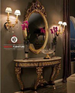 desain meja konsul ukir klasik elegant terbaru