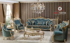 sofa tamu ukir mewah putih kombinasi emas terbaru