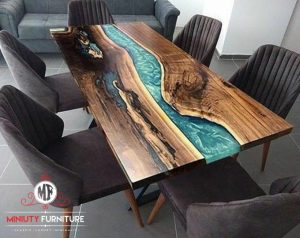 meja makan 6 chairs top table kayu trembesi